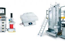 Photo 1: Different scales of single-use bioreactors with integrated, single-use pH and DO sensors; (left to right) UniVessel SU, BIOSTAT RM 20, and BIOSTAT STR 2000 systems from Sartorius Stedim Biotech