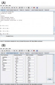 Figure 1: View of the program user interface (a) mechanism editor and (b) initial variable values