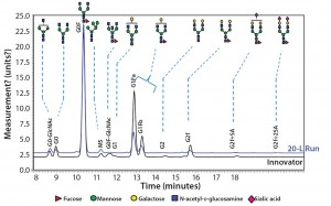 Figure 10: Comparing N-glycans released from the innovator product (black) and Cook Pharmica's 20-L run (blue)