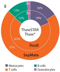 Figure 3e: When thawing with the ThawSTAR system, monocyte subset frequencies were modestly higher than for PBMCs thawed using the water bath method (p < 0.01). Percentages also were more aligned with those of freshly isolated cells.