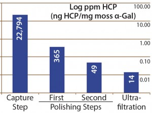 Figure 4: Host-cell protein amounts (ng HCP per mg moss-αGal) at different steps in downstream processing of the moss αGal from 100-L GMP-compliant production culture