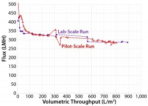 Figure 9: Area ratio of 3.2 (Viresolve Prefilter) to 1.0 (Viresolve Pro) filters with pH = 6.7 for side-by-side laboratory-scale and pilot-scale run using Feed 3