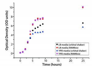 Figure 3: Arithmetic average of OD as a function of culture time for Escherichia coli BL21 in different shake-flask cultures