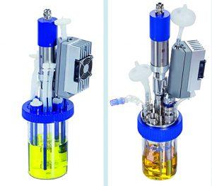 BioBLU of 0.3f single-use vessel (left) and DASbox mini bioreactor (right)