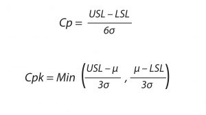 Equation 1: The process capability formula is used to determine the reproducibility and consistency of a biomanufacturing process. USL and LSL represents the upper and lower specification limits, respectively, for bioprocess output; σ represents the standard deviation of the process specification mean.