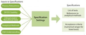Figure 2: Specifications are based on elements that link a product's critical quality attributes (CQAs) to its safety and efficacy. Developing specifications involves information from the published literature, related product and process platform knowledge, specific process data generated during discovery and early process development, and available clinical experience. DP = drug product; DS = drug substance.