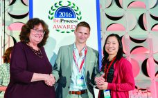 Oliver Hardick (Puridify) and Cindy Jung (GlaxoSmithKline) accept the Best Collaboration award from BPI's Anne Montgomery.
